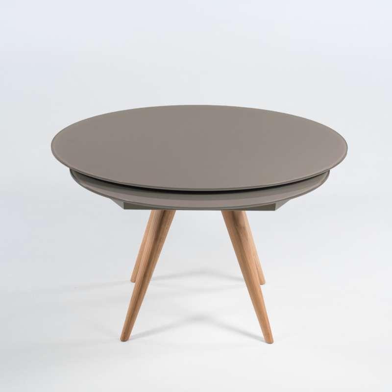 table ronde en verre avec allonges demi lune en verre gris fonce et bois