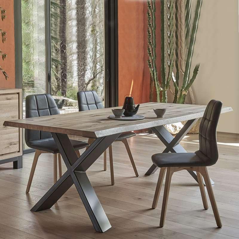 Table de salle  manger moderne extensible en chne massif et mtal pieds en x  Forest  4