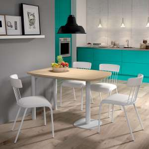 table de cuisine demi oblongue en stratifie et metal blanc lucca