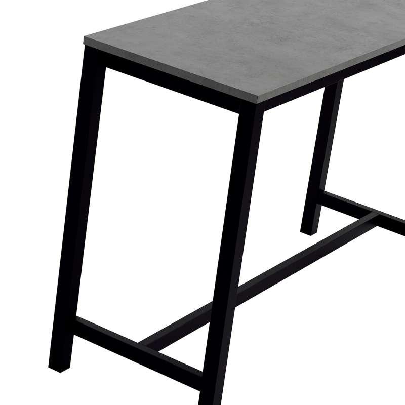 table haute de cuisine en stratifie gris souris et metal noir 160 x 60 cm