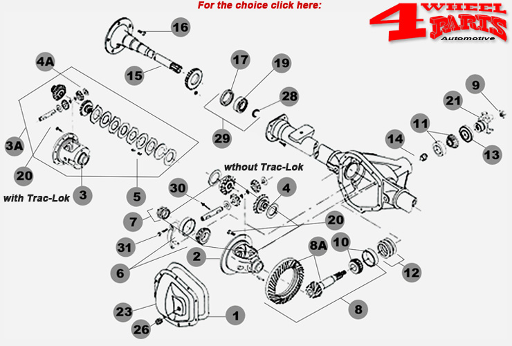 Rear Axle Dana 35c Jeep Wrangler YJ year 90-95-4 Wheel Parts