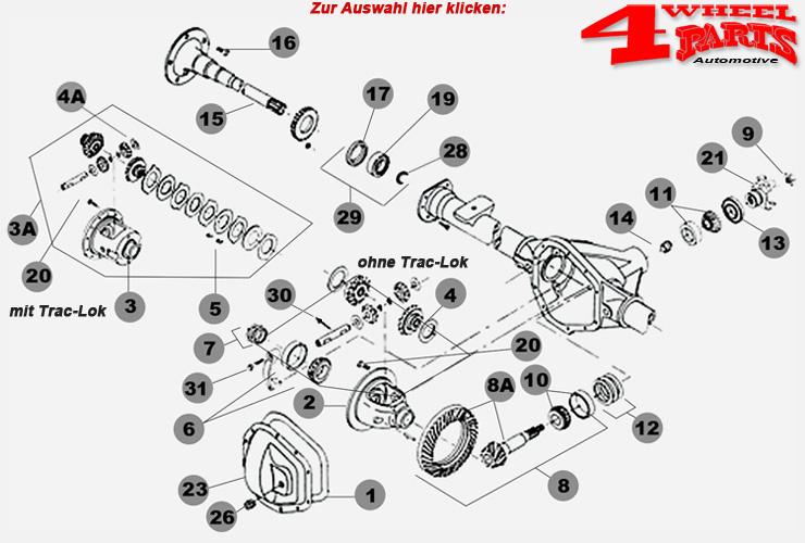 4 Wheel Parts-Hinterachse Dana 35 Jeep Grand Cherokee ZJ