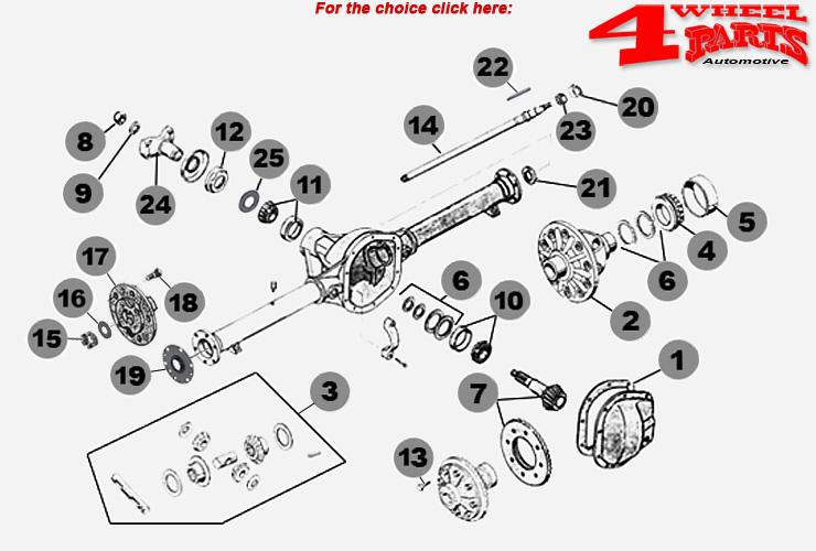 Rear Axle Dana 44 Jeep CJ + Willys year 46-71-4 Wheel Parts