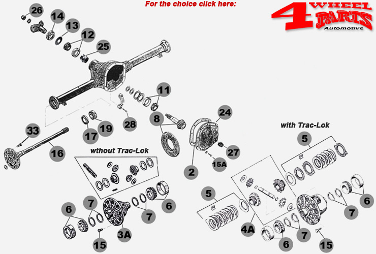 Rear Axle Dana 44 Jeep Grand Cherokee ZJ + ZG year 94-98