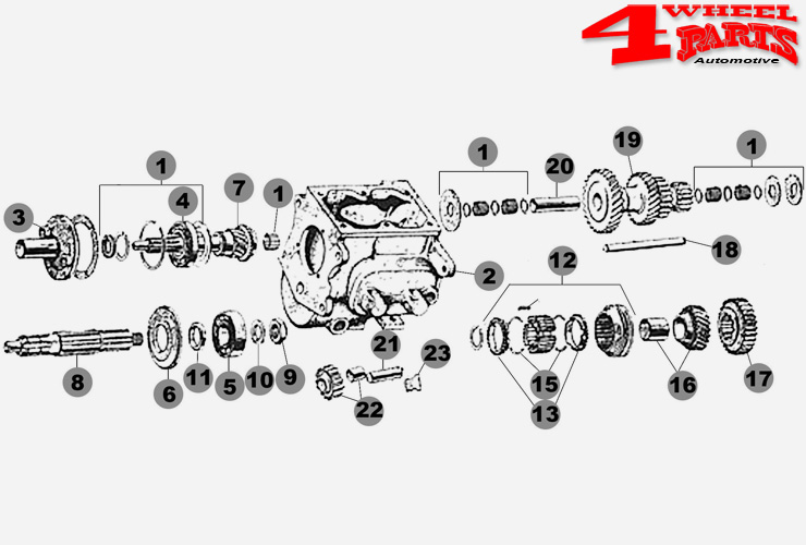 Schaltgetriebe Borg-Warner T90 3-Gang Jeep CJ + Willys Bj