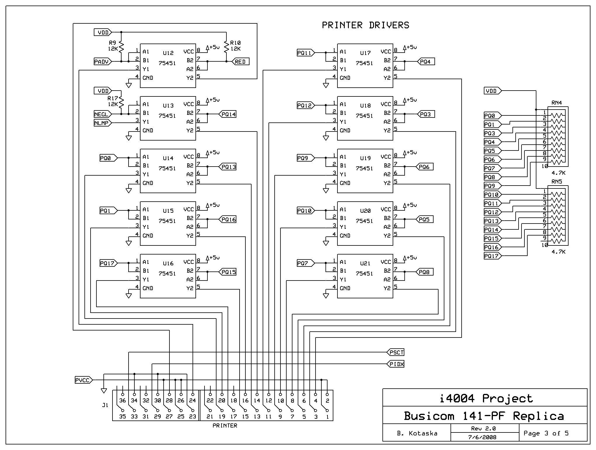 Busicom 141-PF Replica schematics, Model-102 printer emulator