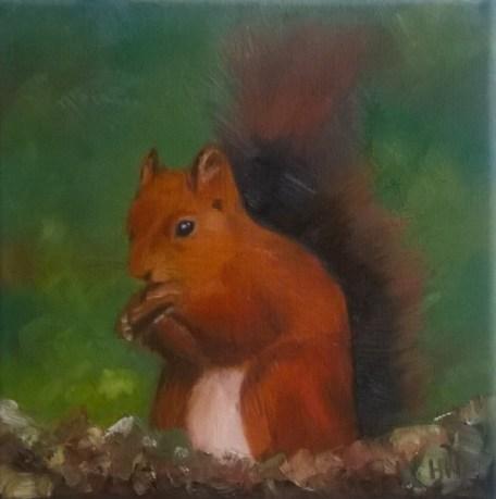 Squirrel by Helen Norfolk, Oil on Canvas 20cm x 20cm