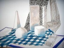 "Still Life Checked Tablecloth by Brian Woollard, Mixed Media, 13.75"" x 10"""