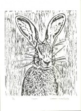 Hare 1 of 6 Linoprint by Helen Norfolk SOLD
