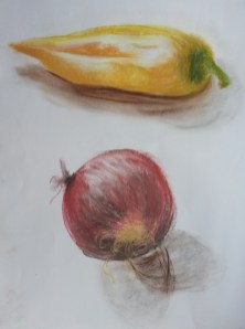 Pepper and onion study pastel on paper by Sibel Roller-Walach