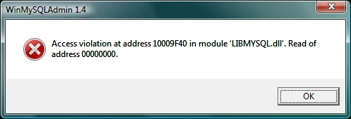 MySQL error message