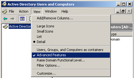 Active Directory with Advanced Features enabled
