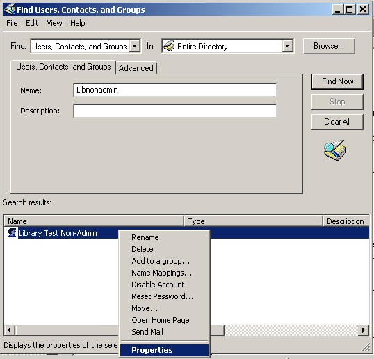 Active Directory Search Results Properties