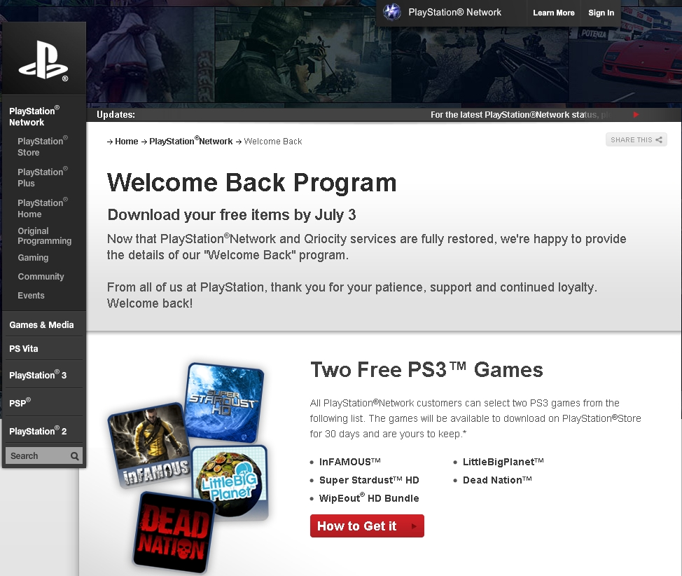 Sony's PSN Welcome Back Program Ended Today - Did You Get Your Free