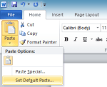 Set default paste in Word 2010