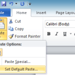 Controlling how Ctrl+V (Paste) works in Word 2010 by default