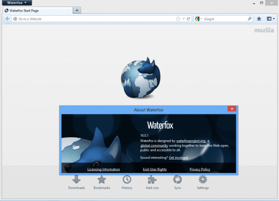 Screencap of Waterfox About with Waterfox running behind it