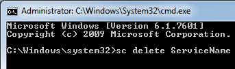 sc delete command
