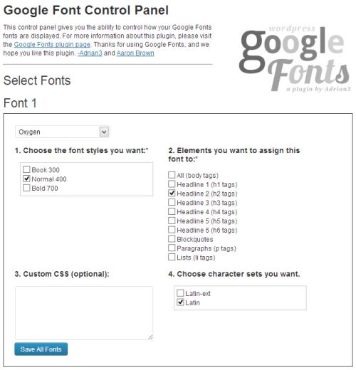 wp google fonts settings