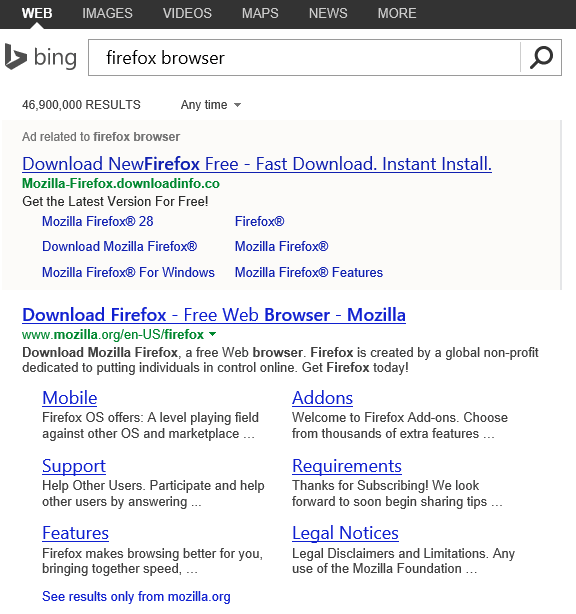 bing firefox browser