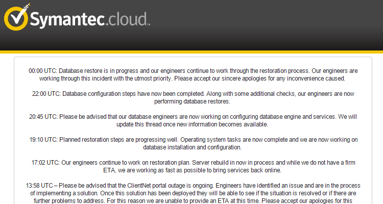 symantec cloud portal suffers all day outage 404 tech support - Database Engineers