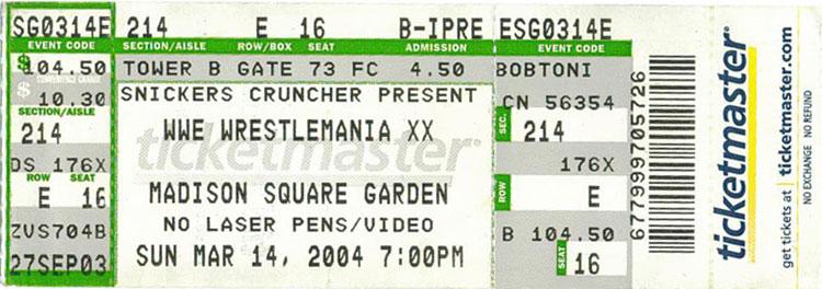 WrestleMania XX Ticket