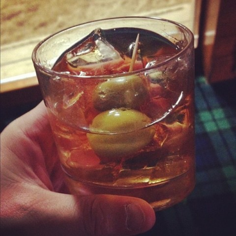 Whisky On The Rocks With Olives