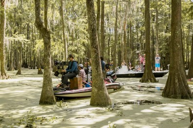 BTS: The camera crew on a boat in Chicot State Park