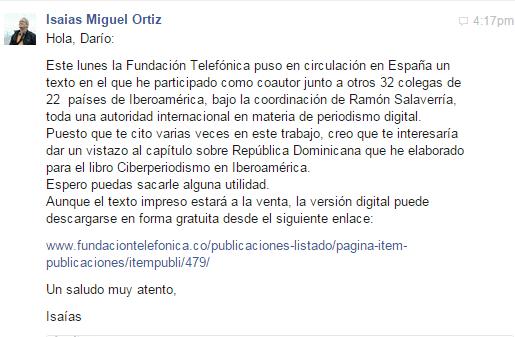 Mensaje de Isaías Ortiz