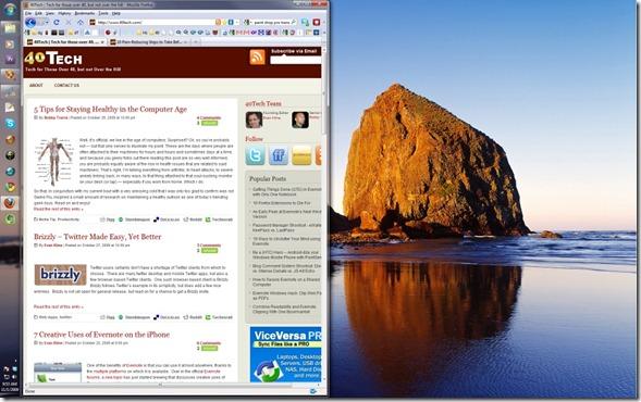 windows 7 aero snap results