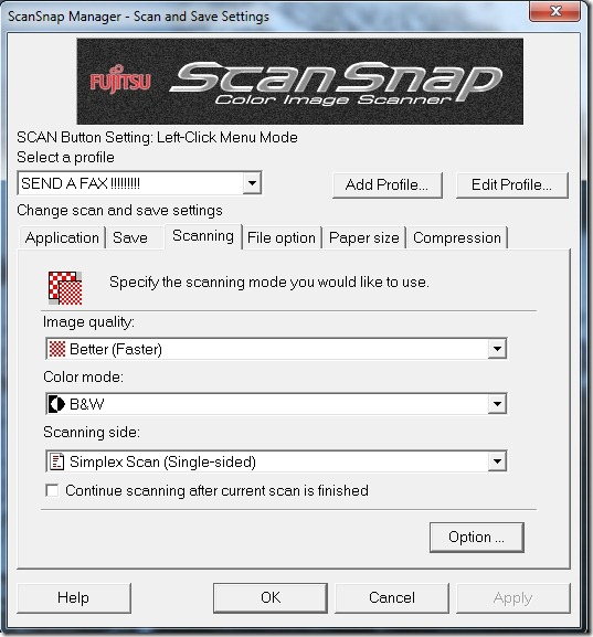 ScanSnap Scanning settings