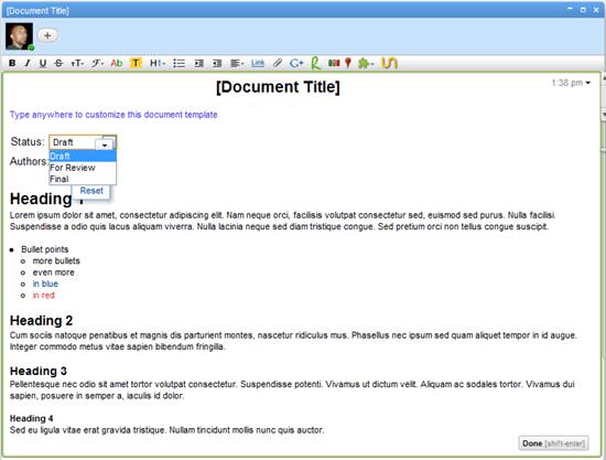 Google Wave Document Template | 40Tech