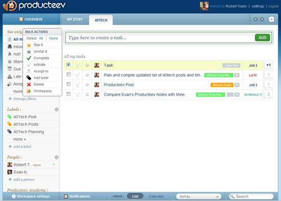Producteev Workspace Tasks with Bulk Actions Menu