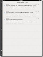 Reeder RSS reader feed list screenshot