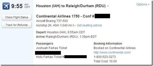 Tripit Flight Reservation