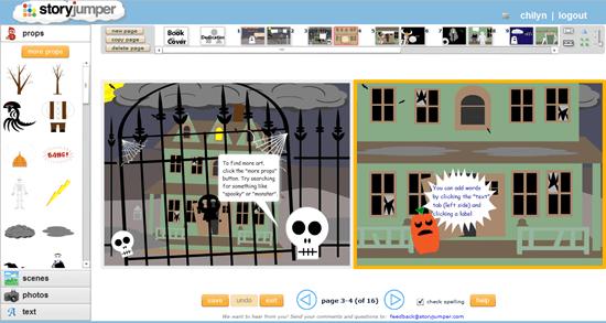 Storyjumper Children's Book Creator Interface