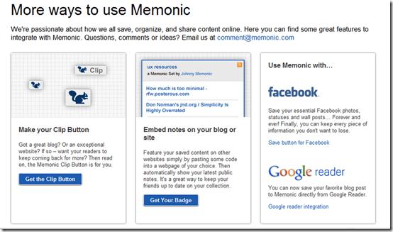 More ways to Use Memonic | Save Facebook, Google Reader Posts | 40Tech