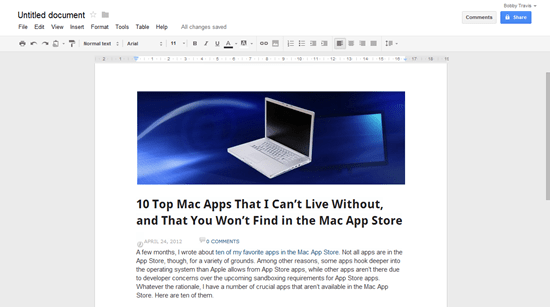 Web Clip of 40Tech Article to Google Drive by Shortcut, Then Copy Paste | 40Tech