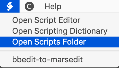 BBEdit menu item - Scripts folder