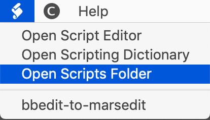 BBEdit menu item - Scripts folder