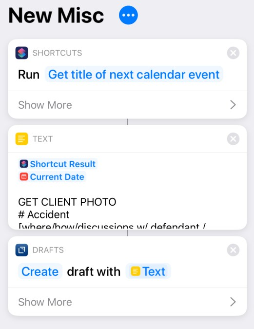 New Misc shortcut screenshot