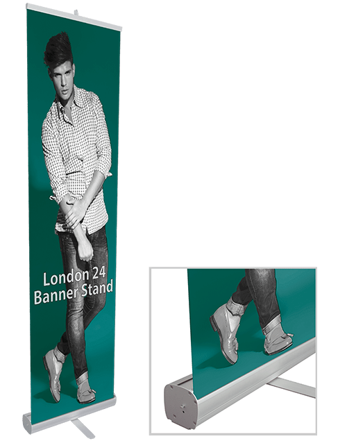 London 24 Banner Stand Base with Printed Graphic