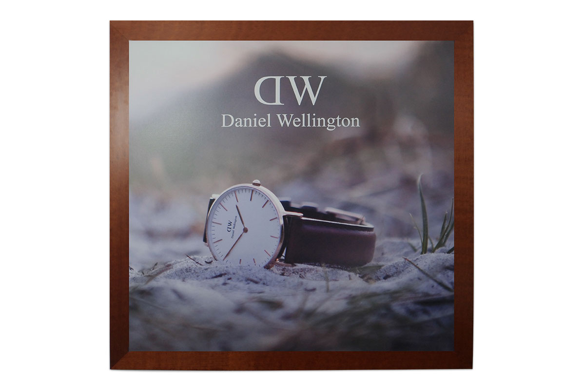 Custom printed and framed decor signage Daniel Wellington