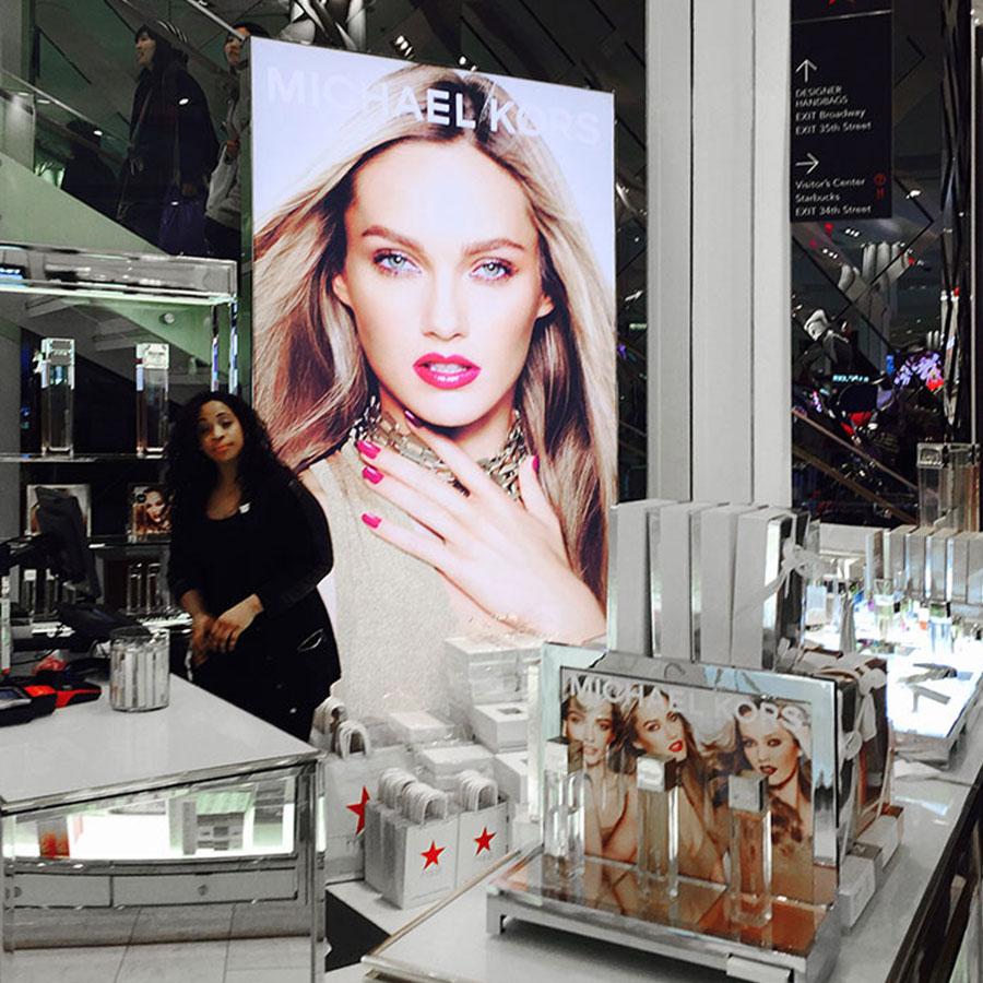 Backlit SEG Fabric Light Boxes Macy's Herald Store Michael Kors