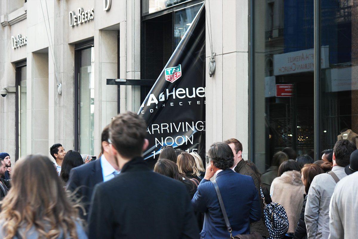 window signage TAG Heuer smartwatch launch in-store printed display advertising marketing visuals
