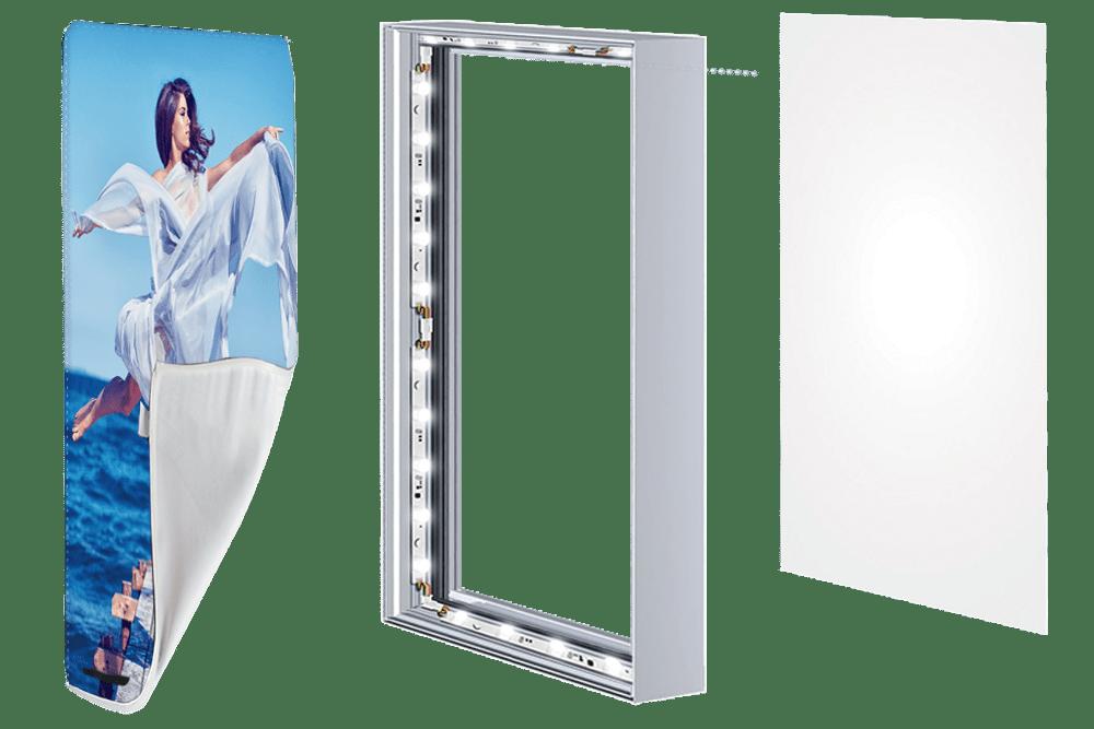 Frameless SEG Lightboxes for Backlit Fabric