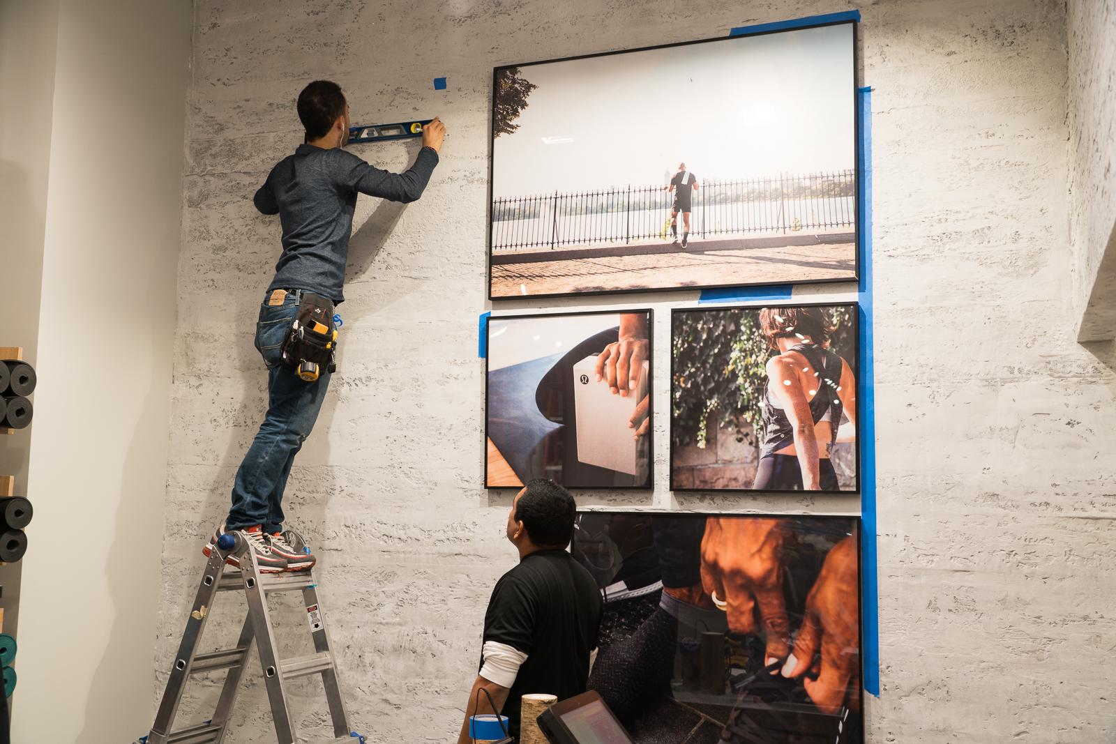 Framed Signage Collage Installation of framed collage signage at lululemon