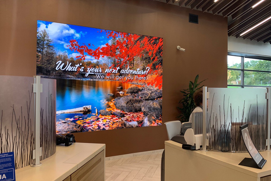 Seasonal Lightbox Display season light box holiday visuals graphics design office decor retail displays signage environment LED light box interchangeable tension fabric silicone edge graphics marketing advertising branding brand installation installed