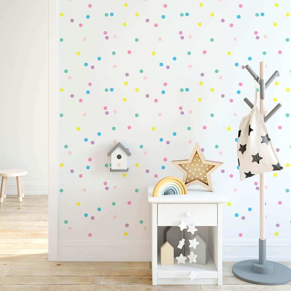 Baby Girl Bedroom Wallpaper Mini Confetti Wall Decals Removable Nursery Decor 41