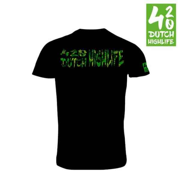 420 Dutch Highlife T-shirt Big Weed Heren Achterkant
